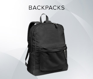 Picture of a backpack. Click to shop Backpacks.