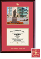 Framing Success Ferris State University BA, MA Diploma Photo Red Gold Double Mat Classic