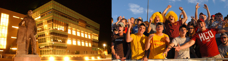 Night picture of statue and building, students cheering